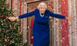 A digitally altered image of the Queen from the Channel 4 broadcast.